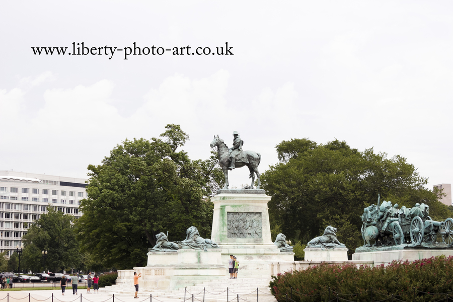 Summer view of the striking equestrian statue of General Grant and Artillery Group at the Ulysses S. Grant Memorial, Union Square, Washington DC