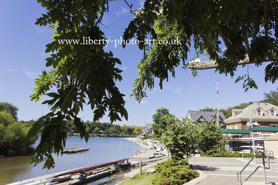 Creative view of quaint Boathouse Row along the Schyulkill River, Philadelphia