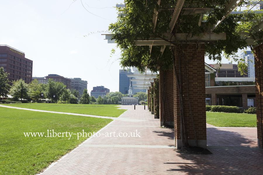 Iconic view looking southwards along Independence Mall towards the historic Independence Hall in the distance, Old City, Philadelphia