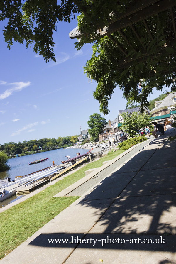 Scenic view of Boathouse Row along the Schyulkill River, which is located west of the city