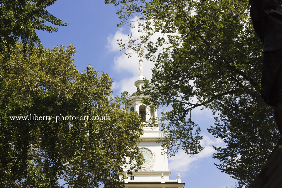 Summer view of the top of the tower and spire to Independence Hall, Indpendendence National Historical Park, Old City, Philadelphia