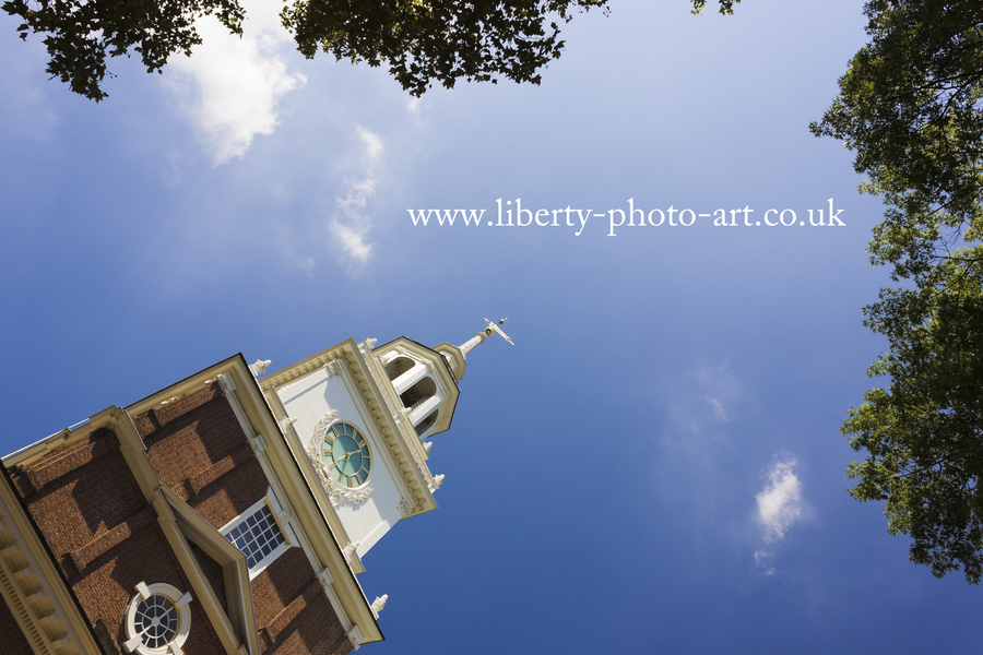Creative view of the tower and spire of Independence Hall, World Heritage Site, Old City, Philadelphia
