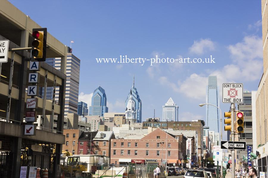 Stunning view of the Center City skyline of Philadelphia including Liberty Place, Comcast Center, BNY Mellon Center & statue of Penn atop City Hall