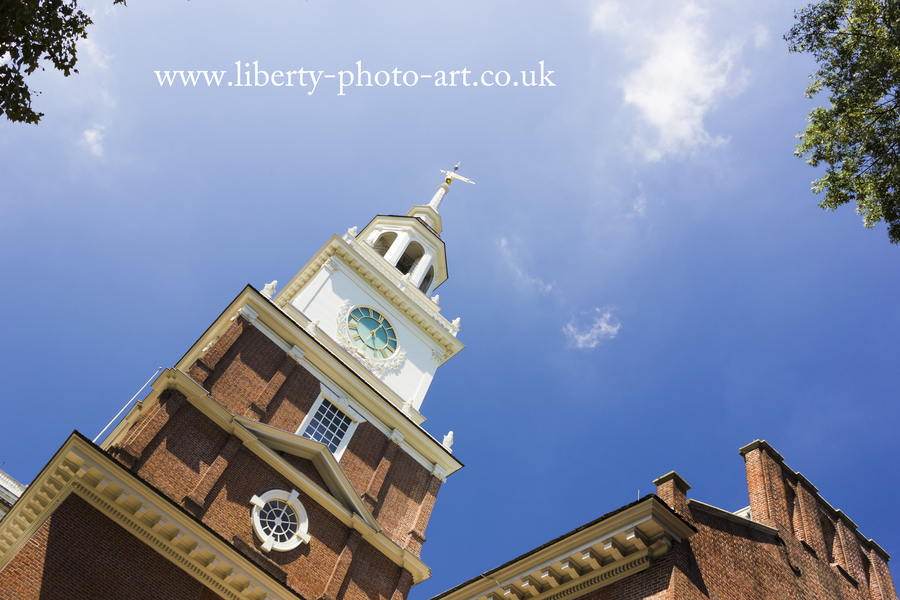 Tower and spire of the historic Independence Hall, Old City, Philadelphia