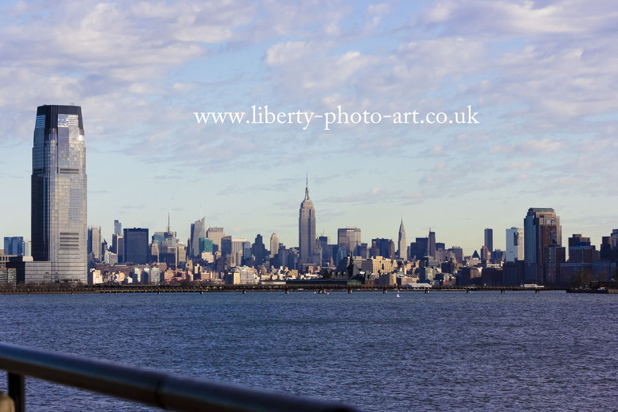 View of the spectacular Midtown Manhattan skyline from across the Hudson River at Liberty State Park, Jersey City, New Jersey